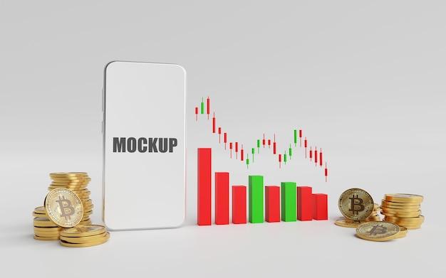 Conceito de investimento com maquete de smartphone em renderização 3d