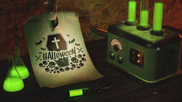 Conceito de itens de halloween na mesa de madeira