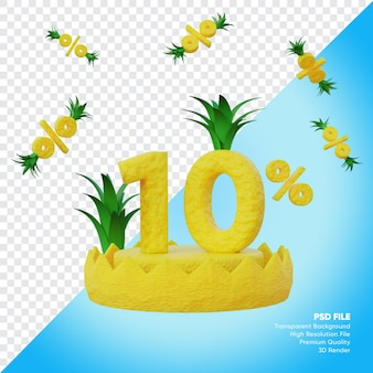 Conceito de liquidação de verão de 10 por cento com renderização 3d do pódio do abacaxi