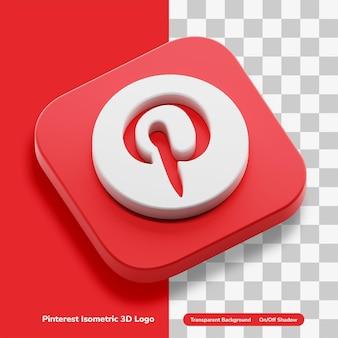 Conceito de logotipo do ícone 3d do aplicativo de coleta de imagens do pinterest em quadrado redondo isométrico