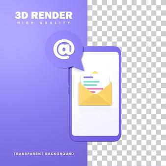 Conceito de marketing de email de renderização 3d com um envelope na tela do telefone.