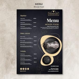 Conceito de menu de restaurante de comida temperamental