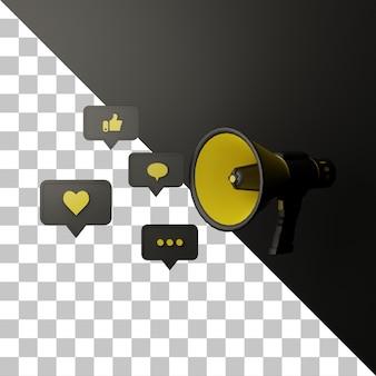 Conceito de mídia social de megafone 3d