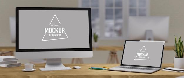 Conceito de mock-up do espaço de trabalho, monitor de computador vazio e tela de laptop na mesa de madeira com material de escritório e decorações no interior borrado ao fundo, renderização 3d, ilustração 3d