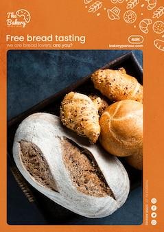 Conceito de modelo da web para degustação de pão grátis