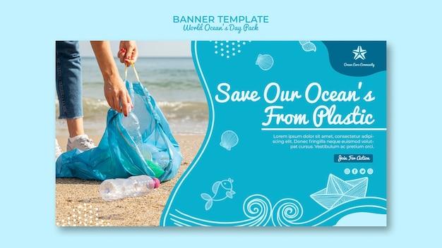 Conceito de modelo de banner com o dia mundial do oceano