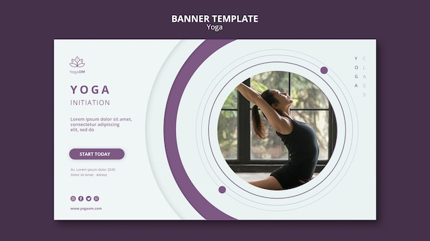 Conceito de modelo de banner com tema de ioga