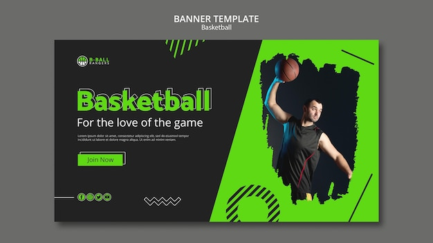 Conceito de modelo de banner de basquete
