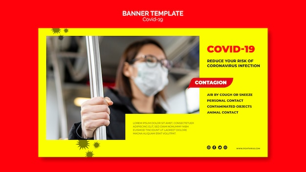 Conceito de modelo de banner de coronavírus