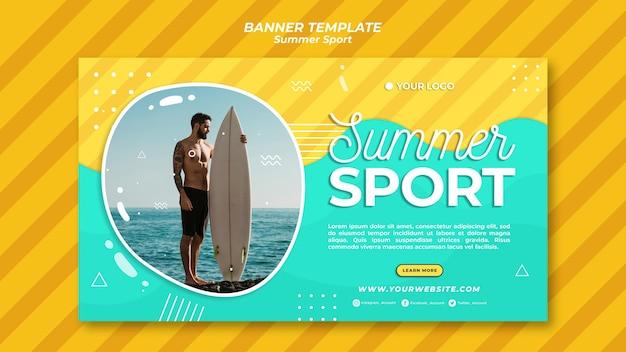 Conceito de modelo de banner de esporte de verão