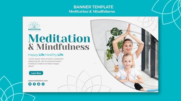 Conceito de modelo de banner de meditação