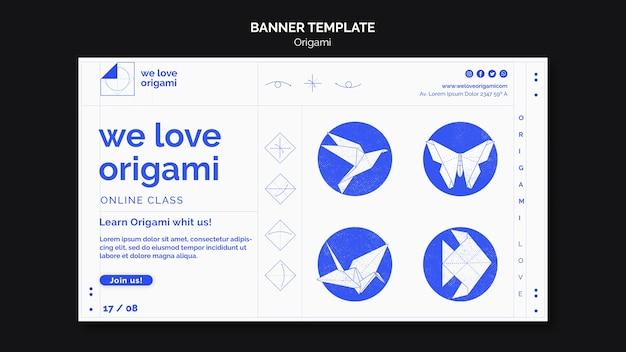 Conceito de modelo de banner de origami