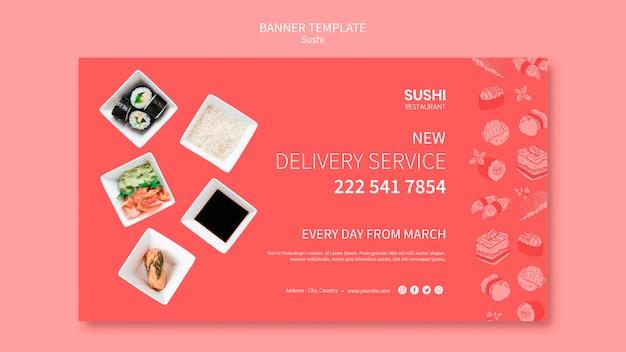 Conceito de modelo de banner de sushi
