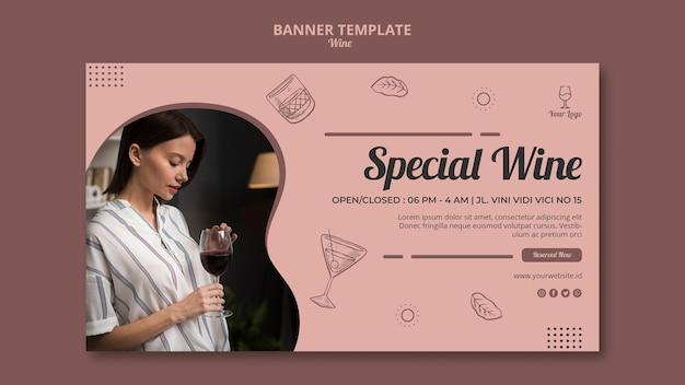 Conceito de modelo de banner de vinho