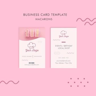 Conceito de modelo de cartão de visita macarons