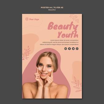 Conceito de modelo de cartaz de beleza