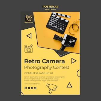 Conceito de modelo de cartaz de câmera retro