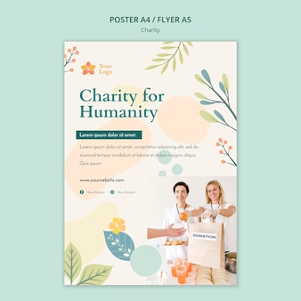 Conceito de modelo de cartaz de caridade