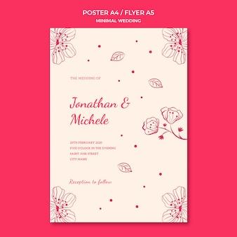 Conceito de modelo de cartaz de casamento
