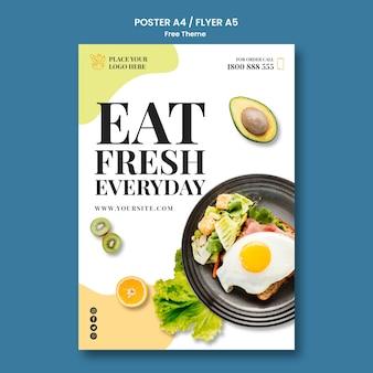 Conceito de modelo de cartaz de comida saudável