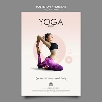 Conceito de modelo de cartaz de estúdio de ioga