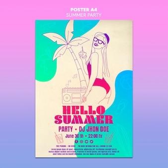 Conceito de modelo de cartaz de festa verão