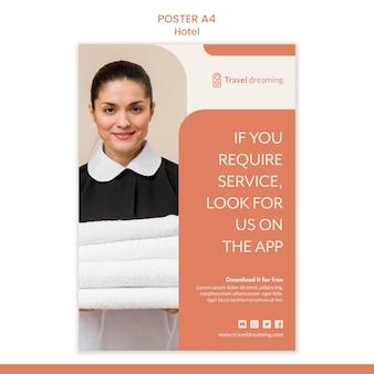 Conceito de modelo de cartaz de hotel