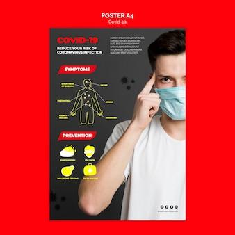 Conceito de modelo de cartaz de prevenção de coronavírus