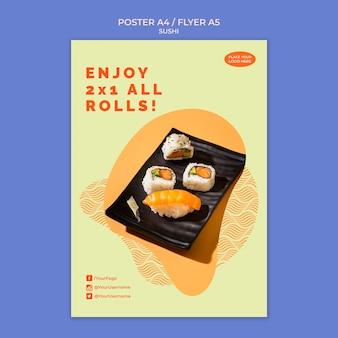 Conceito de modelo de cartaz de sushi