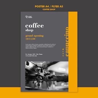 Conceito de modelo de folheto de cafeteria