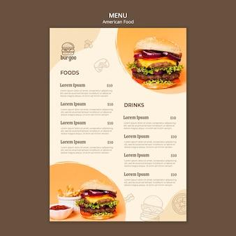 Conceito de modelo de menu de comida americana