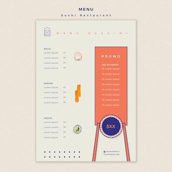 Conceito de modelo de menu de restaurante de sushi