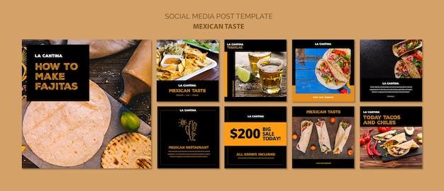 Conceito de modelo de mídia social de restaurante mexicano