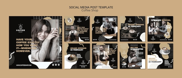 Conceito de modelo de mídia social para café