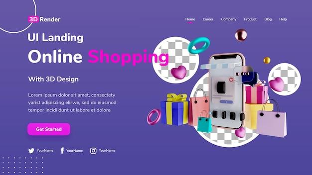 Conceito de modelo de página de destino 3d. compras on-line