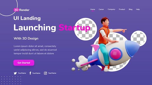 Conceito de modelo de página de destino 3d, homem, lançando startup