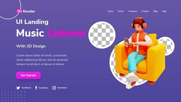 Conceito de modelo de página de destino 3d personagem masculino sentado na cadeira com fones de ouvido e ouvir música