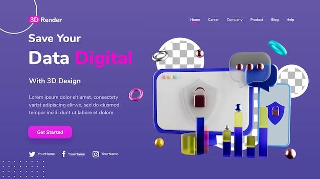 Conceito de modelo de página de destino 3d salvar dados digital