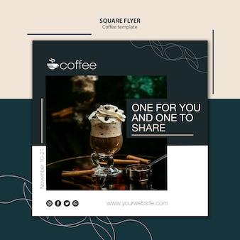 Conceito de modelo de panfleto com café