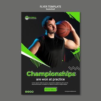Conceito de modelo de panfleto de basquete
