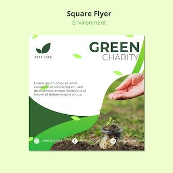 Conceito de modelo de panfleto de caridade verde