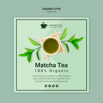 Conceito de modelo de panfleto de chá matcha