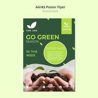 Conceito de modelo de panfleto de ir estação verde
