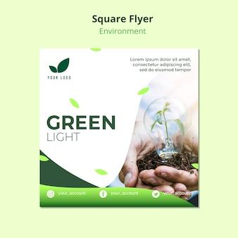 Conceito de modelo de panfleto de luz verde