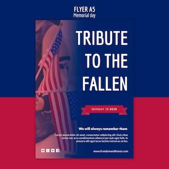 Conceito de modelo de panfleto de memorial day