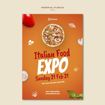 Conceito de modelo de panfleto de pizza