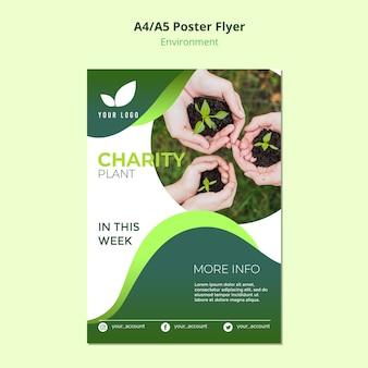Conceito de modelo de panfleto de planta de caridade