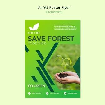 Conceito de modelo de panfleto de salvar a floresta