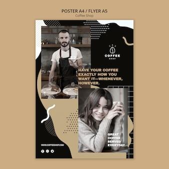 Conceito de modelo de panfleto para café