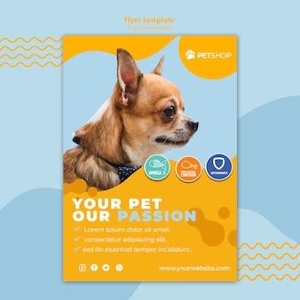 Conceito de modelo de panfleto para pet shop